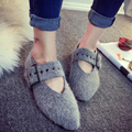 2017 Autumn Winter New Arrival Women Ladies Casual Buckle Strap Fashion Mujer Comfortable Flat Ankle Felt Plush Adorn Shoes G200