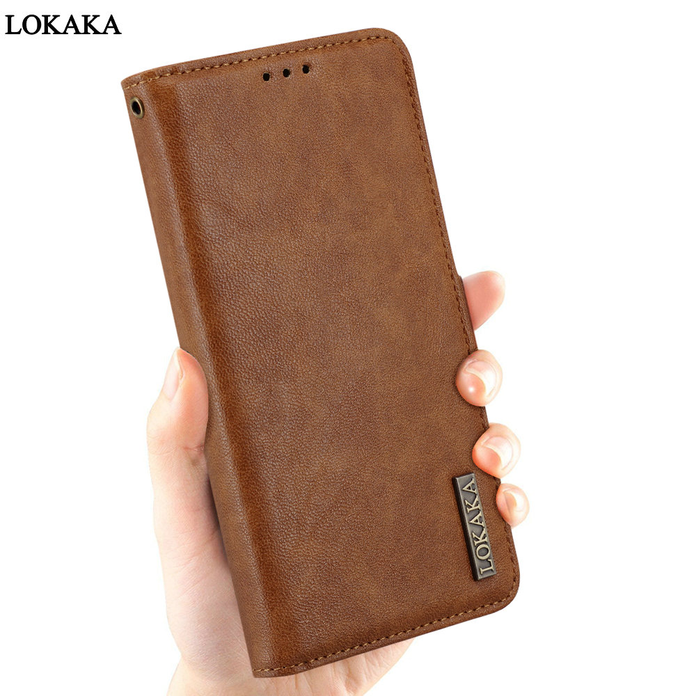 LOKAKA Case For Samsung galaxy A8 2018 A530F PU Leather Wallet Flip Cover Button Phone Bag Cases for Samsung galaxy A8 Plus A8+