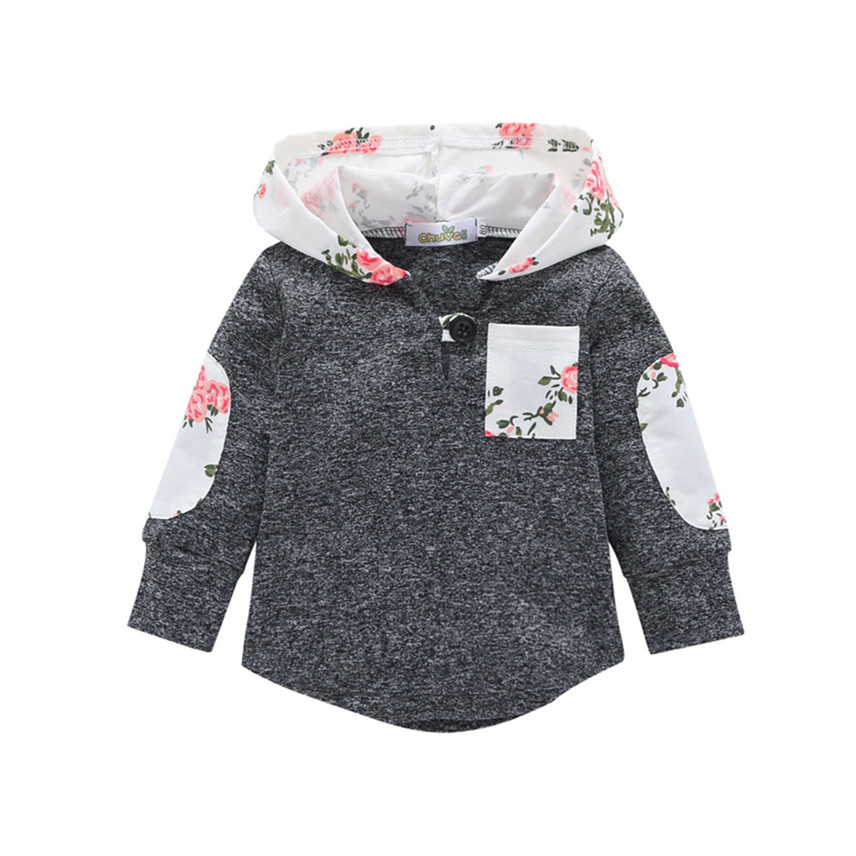 Tops Hoodie Pocket-Sweatshirt Warm Toddler Baby Floral Infant Brand Pullover Gifts Roupa