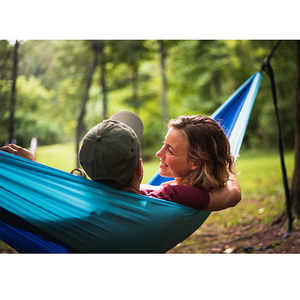 Image 3 - Acehmks Hammock Portable Folding Ultralight Parachute Nylon Camping Hammock Garden Swing Multi Color With 2 Tree Straps Single
