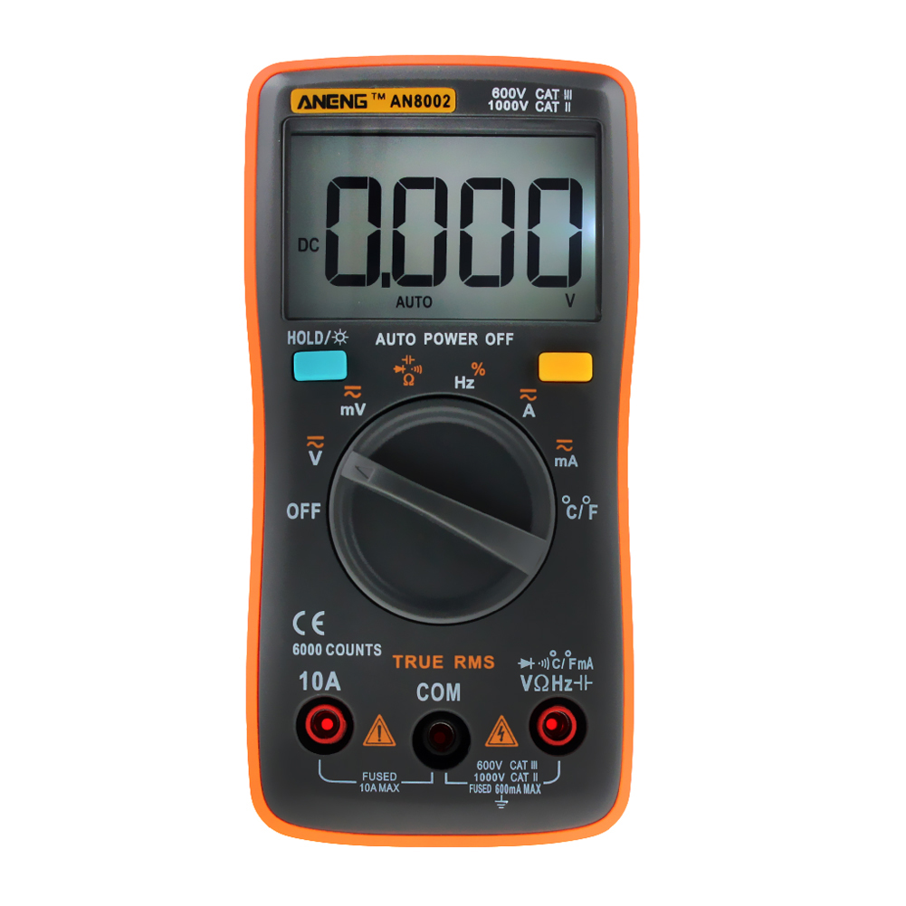 Multimeter 6000 counts Back light AC/DC Ammeter Voltmeter Ohm Frequency Diode Temperature