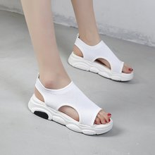 2019 Summer Womens Shoes Flat Mid-heel Non-slip Sandals Fish Mouth Solid Color Air Mesh Slip-on Open Toe EUR35-40