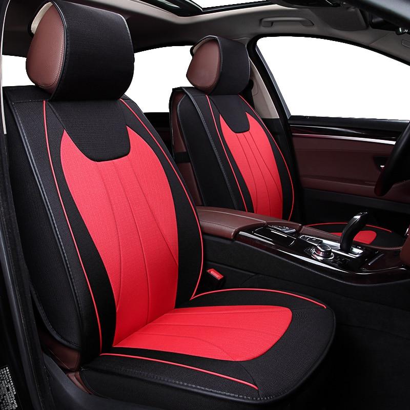 KOKOLOLEE Flax Car Seat Covers For Cadillac SLS ATSL CTS XTS SRX CT6 ATS Escalade auto accessories car styling