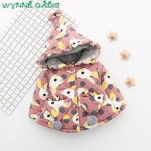 WYNNE GADIS Winter Baby Girls Cartoon Rabbit Print Hooded Princess Bow Jacket Coat Kids Thick Snow Wear Parkas Outerwear casaco