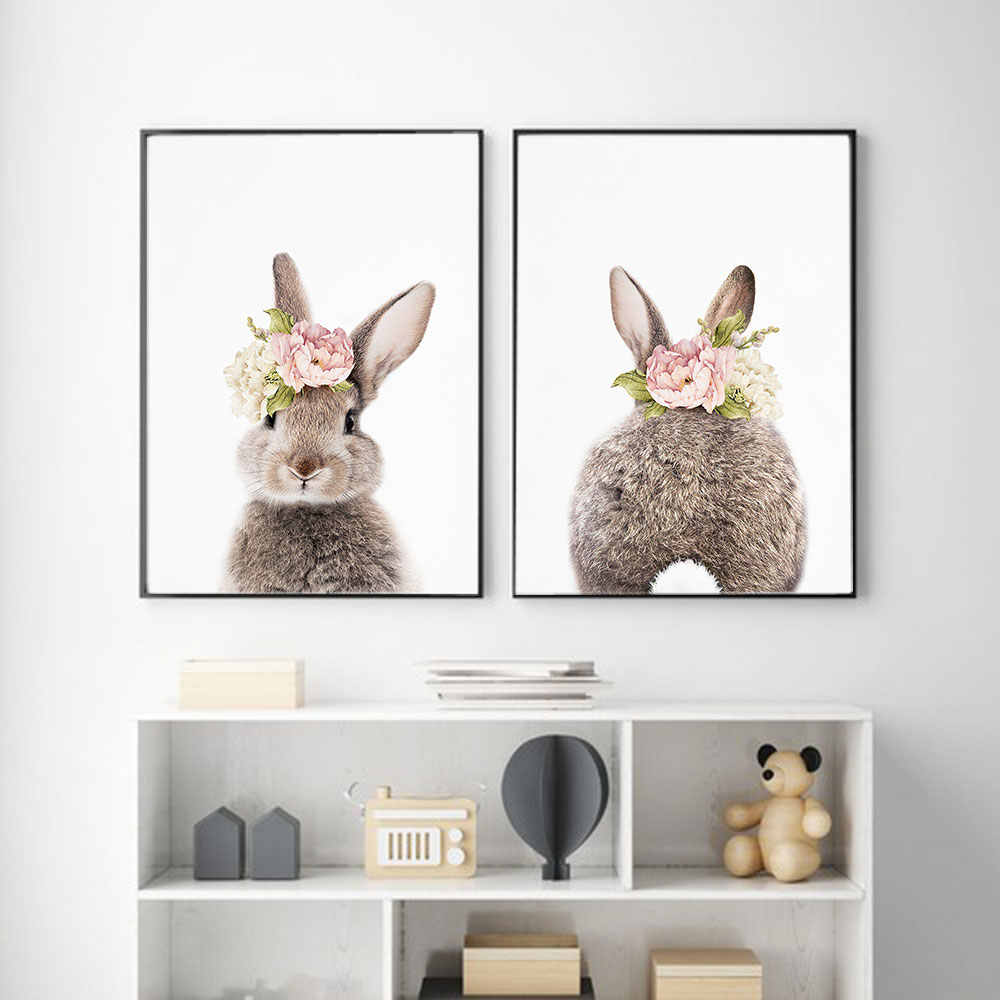 Baby Nursery Wall Art Canvas Print Cartoon Rabbit with flower Poster for kid's room Metal Organic Glass Framed