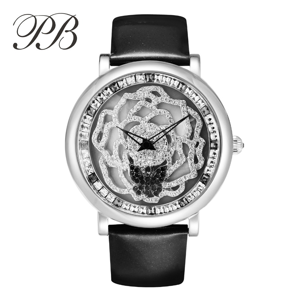 Hot Sell PB Brand New Fashion Women Watch Stainless Steel Quartz Wristwatches Crystal Luxury Genuine Leather