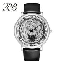 Hot Sell PB Brand New Fashion Women Watch Stainless Steel Quartz Wristwatches Crystal Luxury Genuine Leather Watch Women HL592