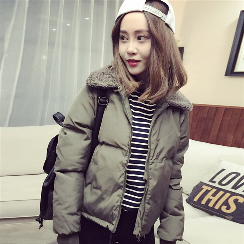 Women Outerwear Autumn Winter Coat Korean Style Lambs Collar Down Cotton-Padded Jackets Short Casual Female Warm   Parkas