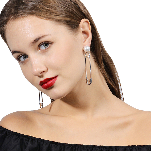 New Trendy Korean Style Simulated Pearl Safety Pin Earrings For Women Creative Stud Earring Brincos Ear
