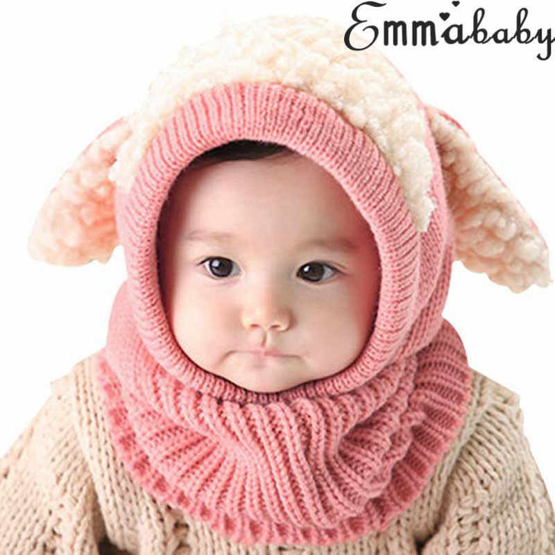 3b3958cd6c7 Winter Beanie Baby Kids Boys Girls Toddler newborn Geometry Warm Hat Hooded  Scarf Earflap Knit Wool