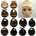 Women Thick Natural Mini Hair Full Bangs with Band Black/Brown 45g Fake Hairpieces with Fringe Straight Hair Extension