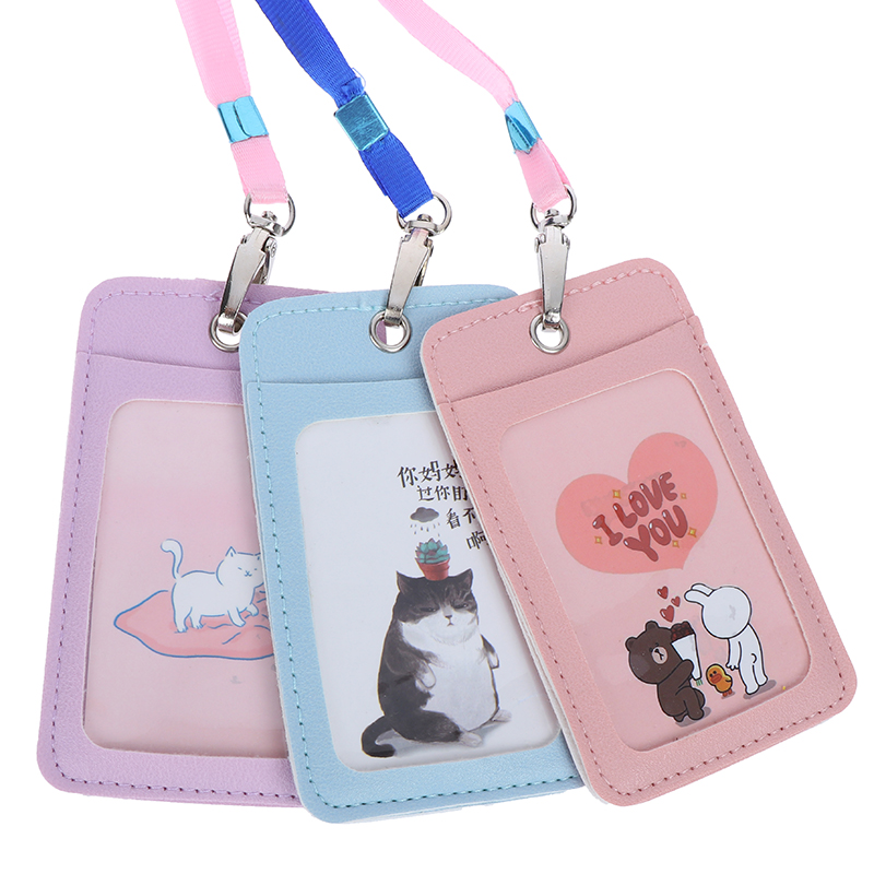 Women Men Pu Leather ID Credit Bank Card Holder Students Bus Card Case Lanyard Male Visit Door Identity Badge Cards Cover