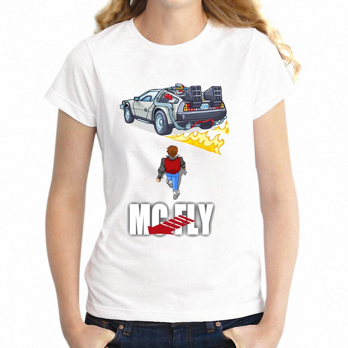 Briljant Vrouwen T-shirt Terug Naar De Toekomst Marty En Delorean Akira Awesome Meisje Tee