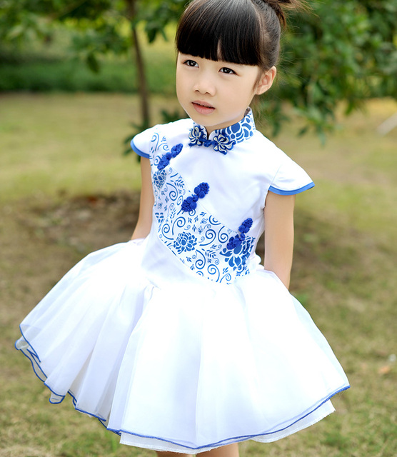 2014 Fashion Blue and white porcelain  child   female child flower girl wedding princess  ball gown dress chinese Gangnam Style