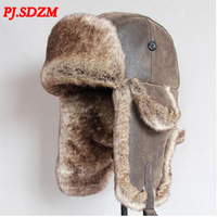 PJ.SDZM Winter PU Hats For Men Women Bomber Hat Fur Hat With Ears Cap With Ear Flaps Russian Hat Snow Caps Aviator Outdoor