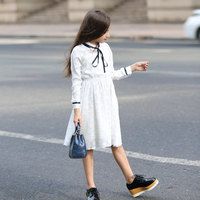 Teenager Girls Dresses 2018 Cotton White Lace Kids Long Sleeve Princess Dress for Girls Children Clothing68 10 12 14 16 Year old