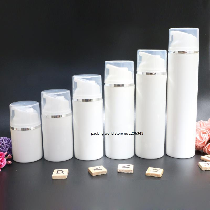50ML white plastic airless bottle with silver line for lotion emulsion serum anti UV sunscreen cream