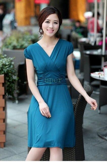716f9541911f Women Sexy Silk V-Neck Dress Short Sleeve Casual Empire Waist Dress 2015  New Arrival Hot Sale