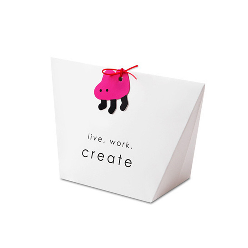 20pcs/lot Creative Cartoon Animal Candy Box With Ribbon Little Card Special White Color Live Work Party Favor Gift Box