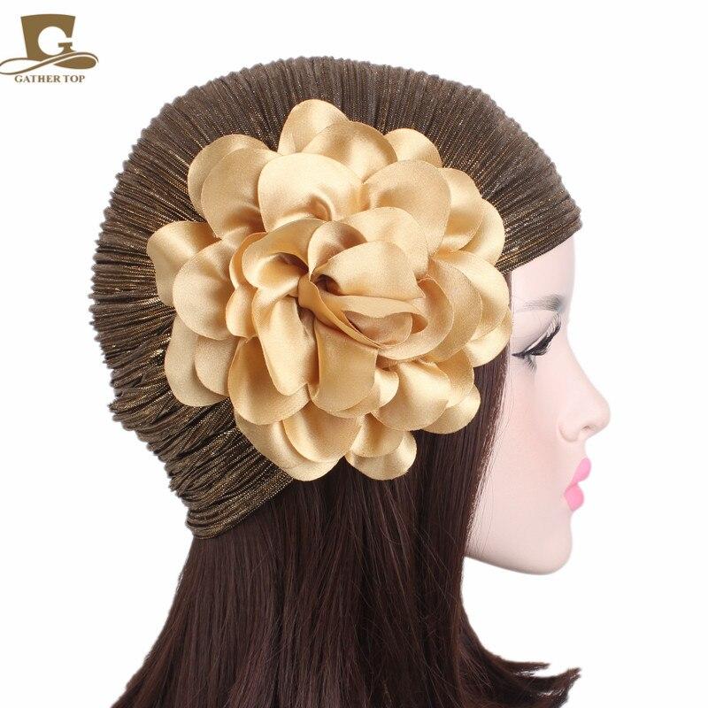 10pcs/lot Women Luxury Flower Ruffle Metallic Turban Headband Chemo Hat Beanie Headscarf Headwrap Lady Turbante hair accessories