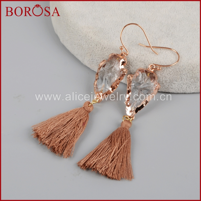 BOROSA Rainbow Tassel Earrings Rose Gold Color Natural Quartz Crystal Druzy Arrowhead Drop Earring Drusy Dangle Earrings R1236