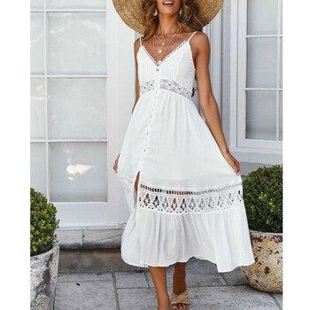 diferentemente 0f020 3661a 2019 nuevo verano Boho cuello pico vestido largo blanco playa estilo  vestido Casual para mujer