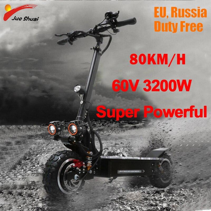 80 KM/H Électrique Scooter 60 V 3200 W Off Road Scooter 11 pouces Deux Roues Étanche Adulte Electrico Moteur Électrique planche à roulettes