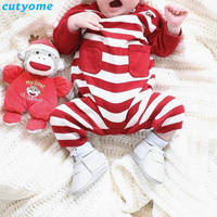 Newborn Baby Boys Girls Christmas Rompers Toddler Infant Striped Jumpsuits With Two Pockets Overalls Clothes Long