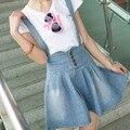 Fashion New 2016 Summer Plus Size Overalls Skirts Womens Straps Saias Femininas Short Denim Skirt Female Fashion Jeans Skirts