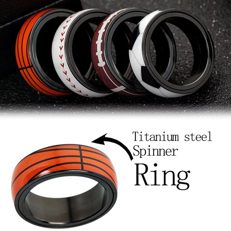 Women Men Ring Football Basketball Baseball Titanium Stainless Steel Rotatable Finger Sports Ring Top Quality Jewelry