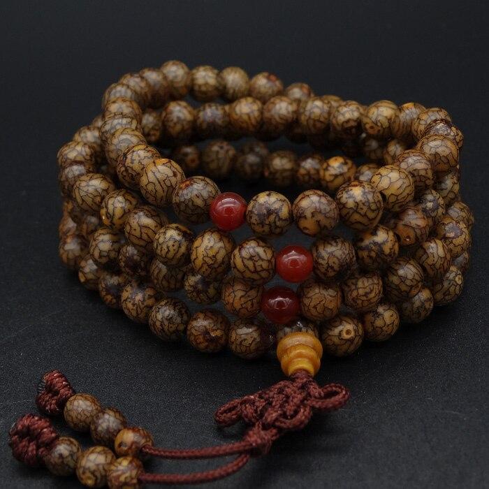 8mm Tibetan Buddhism 108 Gold-line Bodhi Mala Prayer Beads Necklace
