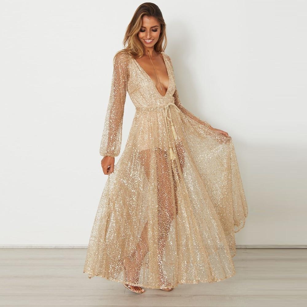 Elegant Solid Gold Maxi Dress Women Sexy Deep V Neck See Through Long Sleeve  Women Dress Vintage Wide Hem Party Dresses Vestidos 2610e46946d4