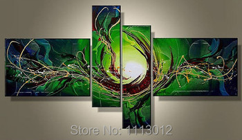New Hand-painted Modern Peacock Line Letter Flower Oil Painting On Canvas 4 Panel Arts Sets Home Wall Decor For Living Room Sale