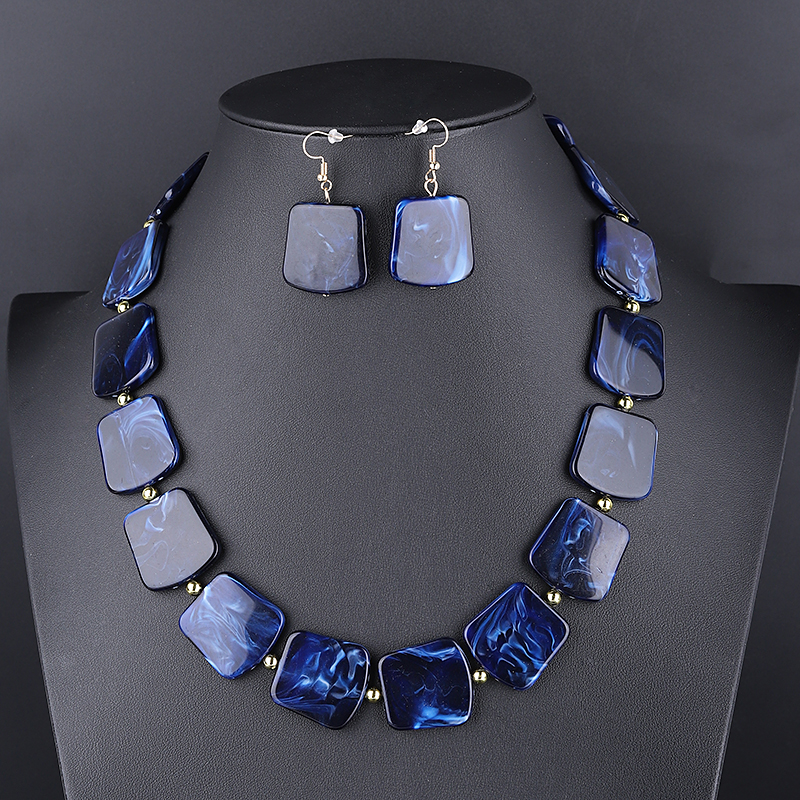 Square Resin Pendant Beads Jewelry Set For Women Chain Rope Statement Necklace Acrylic Geometric Earrings Jewelry