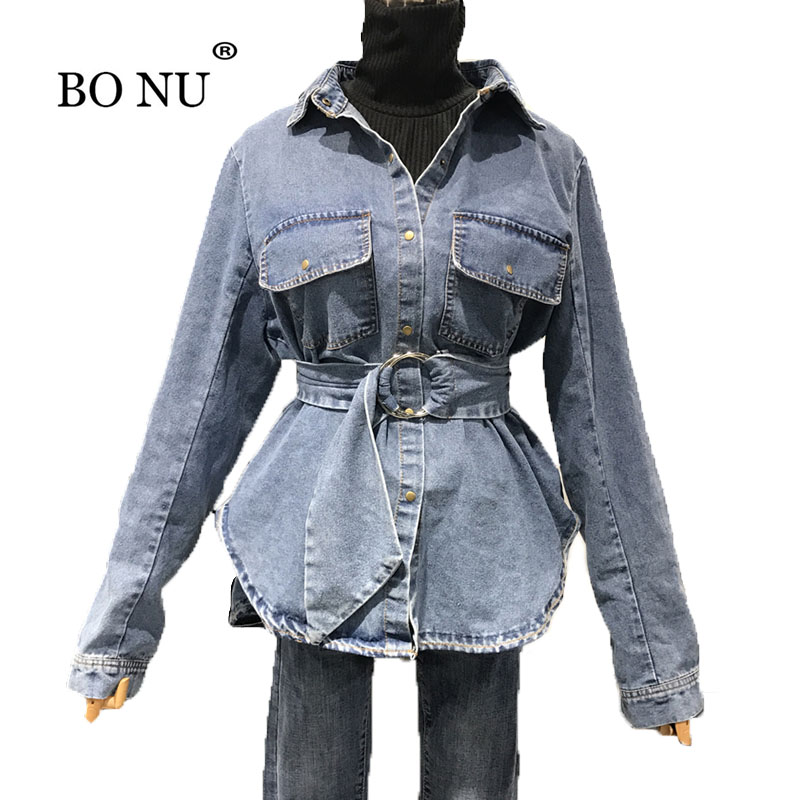BONU Spring Women Singel Breasted Denim   Jacket   Loosen Long Belt Jean   Basic     Jackets   Big Pocket Jean   Jackets   Turn-down Collar Coat
