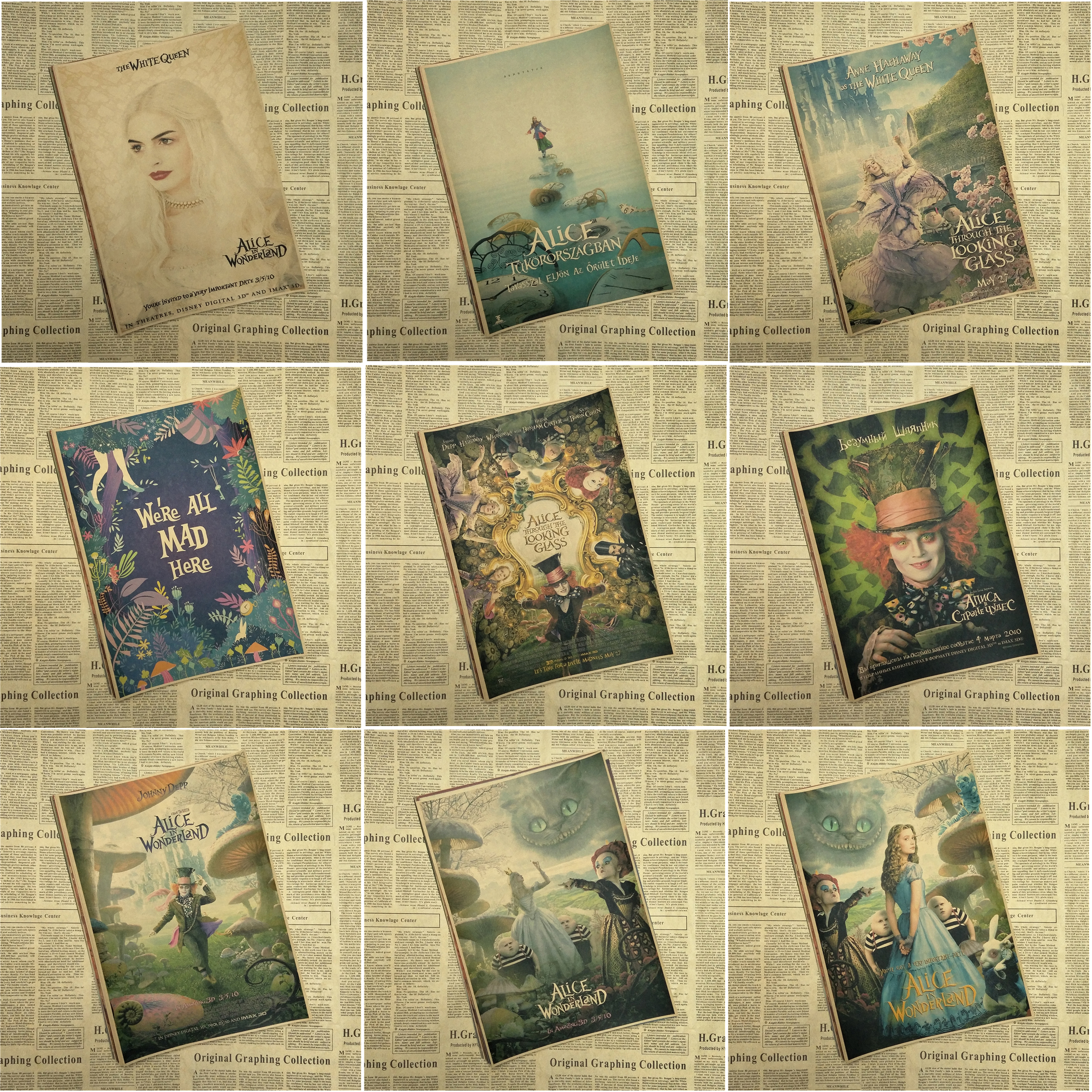 Alice in Wonderland Johnny Depp Tim Burton movie posters decorative ...