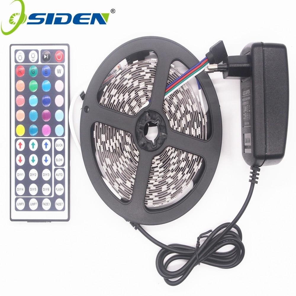 OSIDEN RGB LED Bande Led Lumière 5050 SMD 5 m 300led Bande Imperméable À L'eau RVB diode ruban 44Key IR Contrôleur 3A alimentation