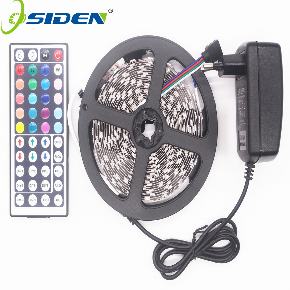 Hot Sale Osiden Rgb Led Strip Light 5050 Smd 5m 300led Tape Power Waterproof Diode Ribbon 44key Ir Controller 3a Supply