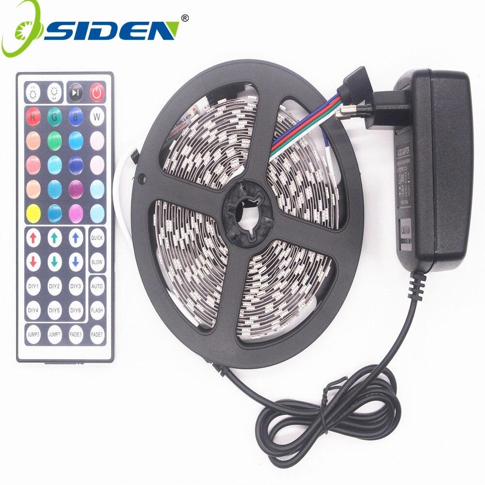 Osiden RGB Светодиодные ленты светодиодный света 5050 SMD 5 м 300 светодиодный ленты Водонепроницаемый RGB диода ленты 44Key ИК-пульт 3A питание