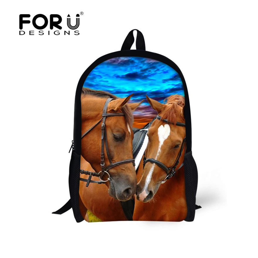 Age 7-13 Children Backpack 16 inch Mochila Infantil Cool Horse Panda Cute Backpacks for Boy and Girl Kid's Primary School Bag horse and his boy