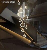 Stair Lighting Led Chandelier Round Ring Chandelier Hanging Lights Living Room Round Pendant Lamp Revolving Duplex Chandelier