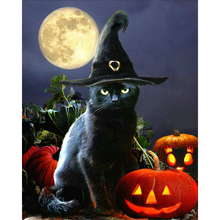 YIKEE Diamond Painting Halloween Cat Full Square/Round Drill Diamond Embroidery Picture Of Rhinestones Beadwork    y659 yikee diamond painting full square dogs 5d full square round drill picture of rhinestones beadwork y513