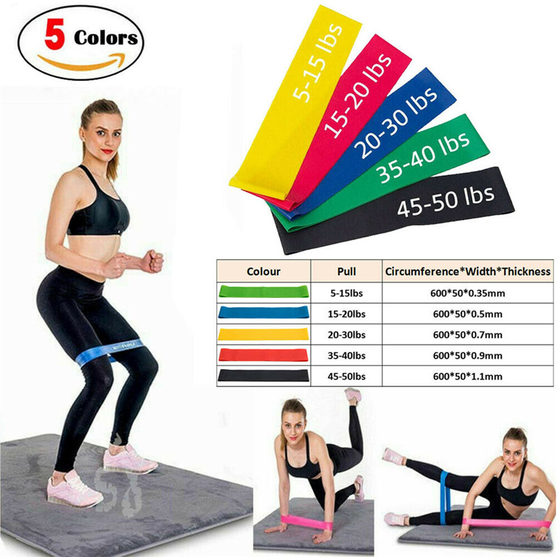 Elastic Workout Resistance Bands Loop Cross Fit Fitness Yoga Leg Exercise Band