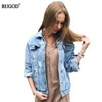 Rugod оптовая продажа одноцветное пальто Осенне-зимняя Дамская обувь рваные джинсовая куртка Femme в винтажном стиле, с длинным рукавом джинсов...