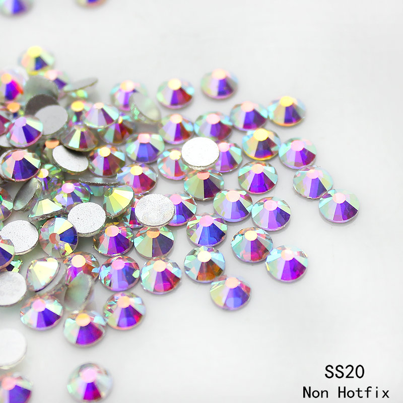 Top quality nail decoration SS20 (4.8-5.0mm)1440pcs crystal AB silver plated Flatback 3D Non Hotfix glue on Nail art rhinestones