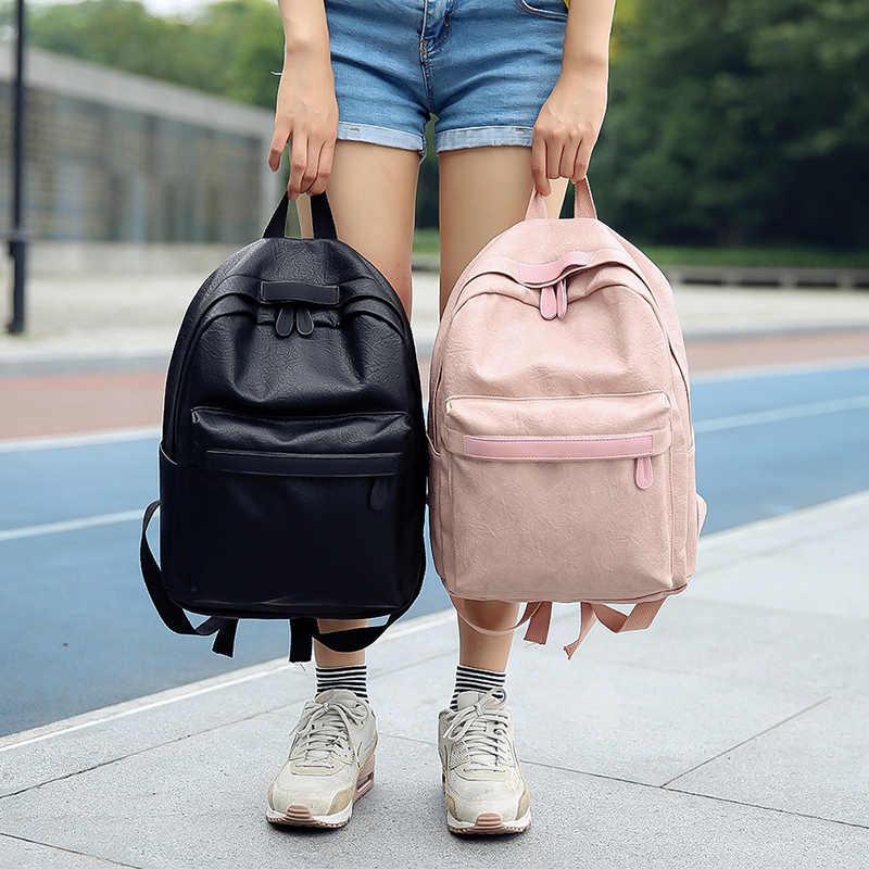 fa8817686af7 Harajuku Korean Schoolbag Pu Mochilas Men Women Knapsack Ulzzang Backpack  Waterproof Backpack Women Fashion Backpacks