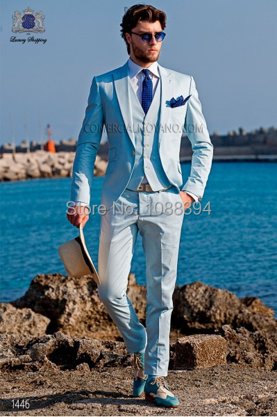 Custom Made Spring Style 3 Piece Men Suits Light Blue Business Suit Wedding Suits For Men Groom Tuxedos Best Man Suit Groomsman