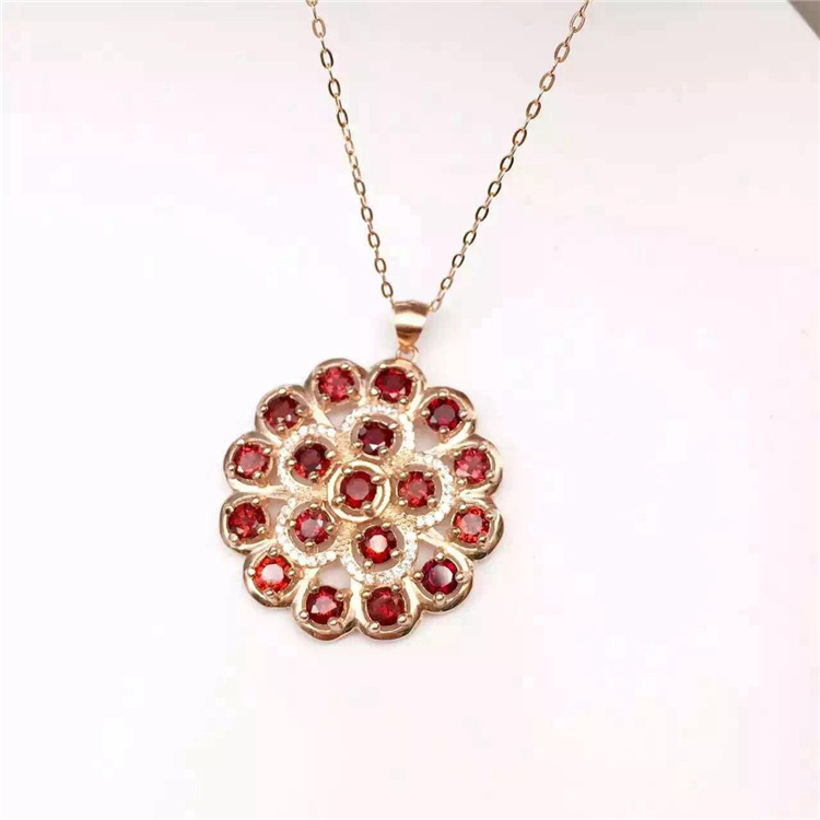 KJJEAXCMY boutique jewels 925 pure silver inlaid with gold jewelry natural garnet jewelry necklace - 3