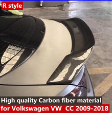 цена на R style For Volkswagen CC Spoiler High Quality Carbon fiber material  Car Rear lip Wing trunk Spoiler For  CC Spoiler 2019 year