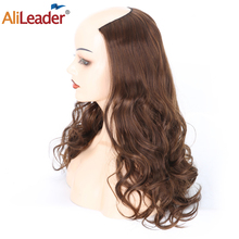 Alileader Ombre 24 U part Synthetic Wavy Wig 230g Ladies Hair 3/4 Half With Comb Clip In Extensions Black Brown Blue